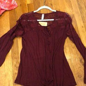 Bell sleeve Maroon blouse